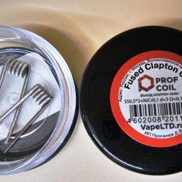 Готовый койл: Prof Coil Fused Clapton SS0,5*2+NiCr0,1 d=3 Ω=0,14/0,07