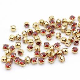 Шатоны Preciosa Red Flame/оправа золото / Maxima ss16/3,8-4,0 мм 20 шт (Чехия)