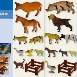 Животные H640 (96шт/2)домашние,3 вида,забор,в пакете20*26см