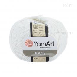 YarnArt Jeans 01 (белый), 55%хлопок, 45% акрил, 50 гр.160 м