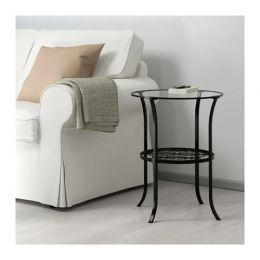 КЛИНГСБУ Придиванный столик, черный, прозрачное стекло, 60 х 49 см