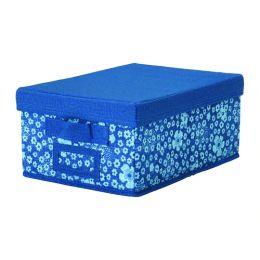 СТОРСТАББЕ Коробка с крышкой, синий, белый, 25 x 35 x 15 см