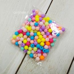Бусины пластик ''Цветное ассорти'' 6 мм, уп. 25 гр.