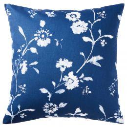 БЛОГРАН Чехол на подушку, синий, белый, 50x50 см
