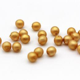 Жемчуг стеклянный матовый золотой 4 мм 20 шт (Чехия)