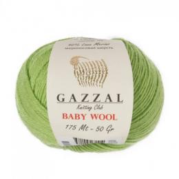 Gazzal baby wool 838 (зелёное яблоко), мериносовая шерсть 40%, кашемир 20%, акрил 40%, 50 гр.175 м.