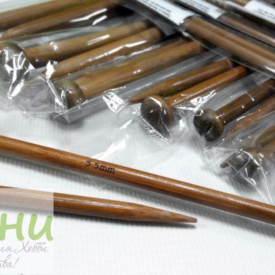 Прямые бамбуковые спицы с наконечником, 35 см № 2