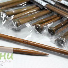 Прямые бамбуковые спицы с наконечником, 25 см № 2,25