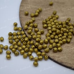Граненые бусины Firepolished / Matte Met Aztec Gold 4 мм. 25 шт, Чехия