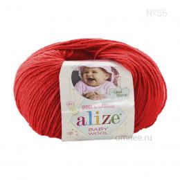 Alize BABY WOOL 56 (красный), 40% шерсть, 40 % акрил, 20% бамбук, 50 гр. 175 м.