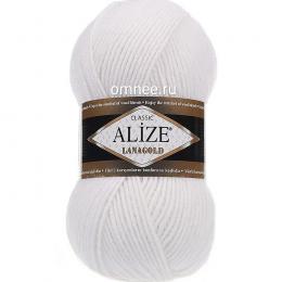 Alize Lanagold 55 (белый), 49% шерсть, 51 % акрил, 100 гр. 240 м.