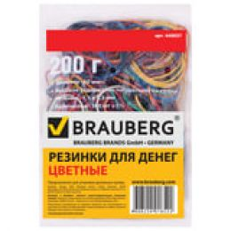 резинка для денег Brauberg, 200 гр, диаметр 60 мм, цветные 440037
