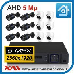 Комплект видеонаблюдения на 12 камер XMEye-KIT1625AHD750PB/300PW-12.