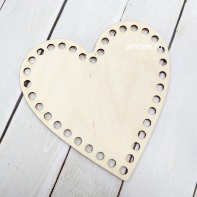 Сердце 15х15 см, 3 мм фанера, заготовка для обвязывания