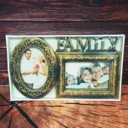 Фоторамка-коллаж пластиковая FAMILY золото, 2 фото