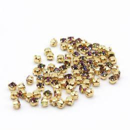 Шатоны Preciosa Vitrail Medium (VM)/оправа золото / Maxima ss16/3,8-4,0 мм 20 шт (Чехия)