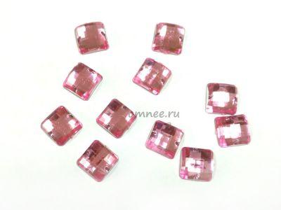 Стразы пришивные акриловые 12х12 мм, цв.: розовый