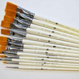Кисть синтетическая плоская с длинной ручкой Невская Палитра №24