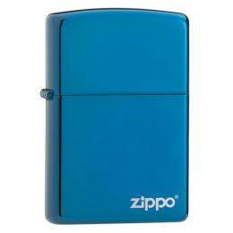 Зажигалка ZIPPO Classic с покрытием Sapphire™, латунь/сталь, синяя с фирменным логотипом, глянцевая