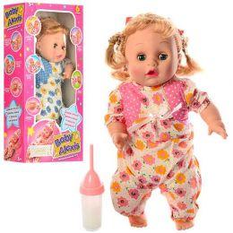 Кукла Алекс 1763 G-1 (36шт) мягконабив,девочка40см,звук,свет,бутылоч,2цв,разобр,бат,в кор,43-21-10см