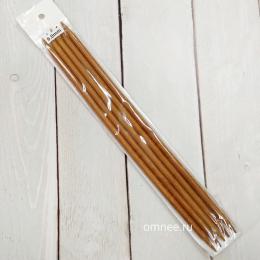Чулочные спицы №6 (5 шт) бамбуковые, 25 см