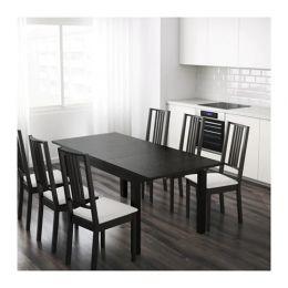 БЬЮРСТА Раздвижной стол, коричнево-чёрный 140/180/220 х 84 см