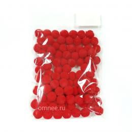 Помпоны 10 мм, уп. 100шт. цв.: красный