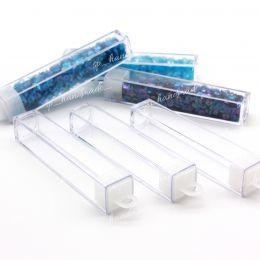 Туба пластиковая прозрачная с крышкой (размер 8.5*1.5*1.5 см), 1шт. (Китай)
