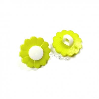 Пуговицы пластиковые ''зеленые ромашки'', 1 см, шт.