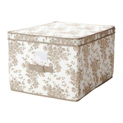 ГАРНИТУР Коробка с крышкой, бежевый, белый цветок, 42 х 56 х 32 см
