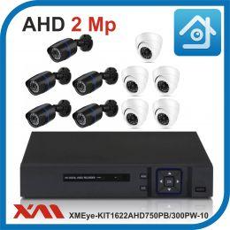 Комплект видеонаблюдения на 10 камер XMEye-KIT1622AHD750PB/300PW-10.