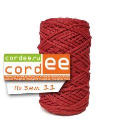 Шнур Cordee, ПЭ 3 мм,100м, цв.:11 красный