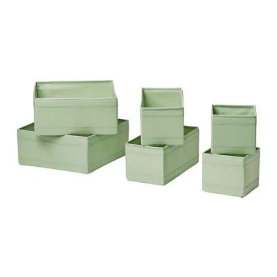 СКУББ Набор коробок, 6 шт., светло-зеленый