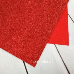 Фетр глиттерный 1,2 мм 20х30 см, цв.: 02 красный