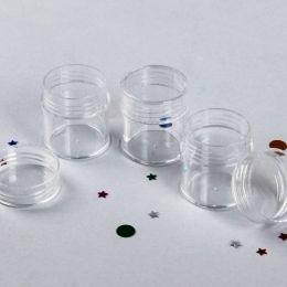 Баночки (1шт.) для бисера, пайеток, шатонов и других материалов СП (диаметр = 2,5 см., высота = 3 см, вес 6 гр)