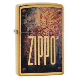 Зажигалка ZIPPO Rusty Plate Design с покрытием Brushed Brass, латунь/сталь, золотистая, матовая