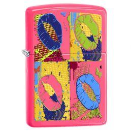 Зажигалка ZIPPO Classic с покрытием Neon Pink, латунь/сталь, розовая, глянцевая
