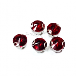Стразы в цапках 8 мм, стекло, цв.: красный, шт.