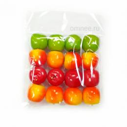 Яблоки 2 см, уп.16 шт., цвет: в ассортименте, пластик.