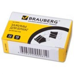Зажимы для бумаг BRAUBERG, 12 шт., 19 мм, на 60 л., черные