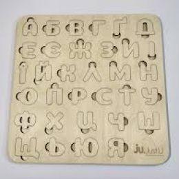 Деревянная рамка-вкладыш Цифры, Буквы 2 вида [Пленка]