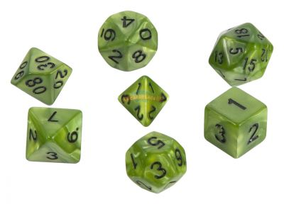 Набор кубиков STUFF PRO для ролевых игр под мрамор Ярко зеленые
