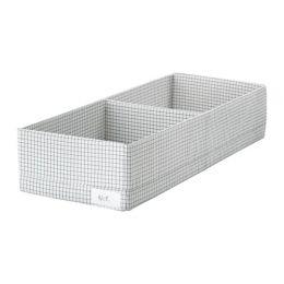 СТУК Ящик с отделениями, белый/серый, 20 х 51 х 10 см