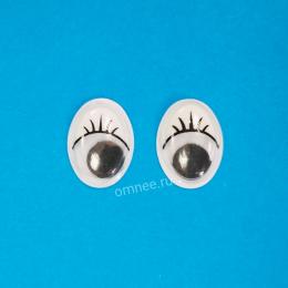 Глаза овальные с бегающим зрачком, с ресничками 12х16 мм, пара.