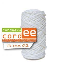 Шнур Cordee, ПЭ 3 мм,100м, цв.:02 белый