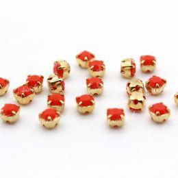 Шатоны Preciosa Coral /оправа золото ss16/3,8-4,0 мм 15 шт (Чехия)