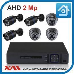 Комплект видеонаблюдения на 6 камеры XMEye-KIT842AHD750PB/300PG-6.