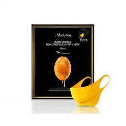 JMSOLUTION Honey Luminous Royal Propolis Lift-Up V Mask Black 25g Питательная лифтинг-маска с экстрактом прополиса для шеи и подбородка