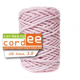 Шнур Cordee, ХБ5 мм, цв.:15 розовая пудра