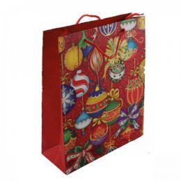 Пакет подарочный ''Ёлочные игрушки'', цв.: красный, 26х32х10 см